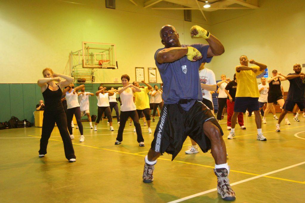 US navy practising kickboxing