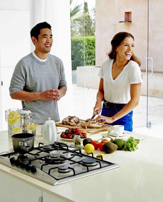 Dalton Wong and Kate Faithfull-Williams, together are making a healthy dish