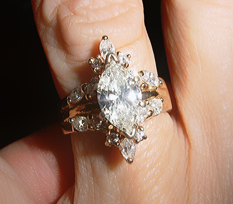 cost of a gold banded wedding ring with diamond combination